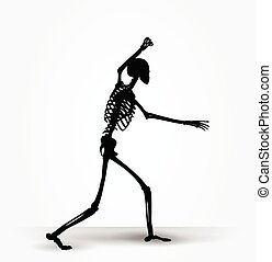 skeleton silhouette in intimidating pose - Vector Image -...