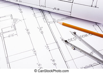 blueprints - construction concept, selective focus all...