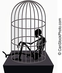 skeleton silhouette in sitting in cage - Vector Image -...
