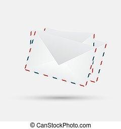 vector envelopes on white background