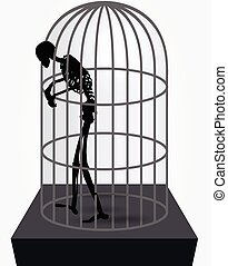 skeleton silhouette in standing in cage - Vector Image -...