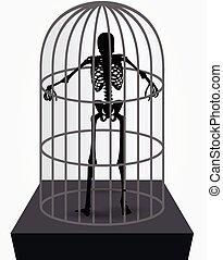 skeleton silhouette in standing in cage