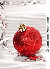 red ball - Holiday series: christmas red ball over white