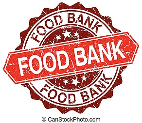 food bank red round grunge stamp on white