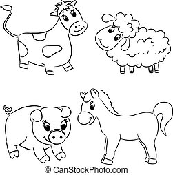 Set of outlined cartoon animals
