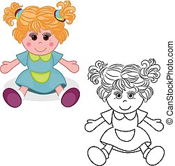 Coloring book. Girl doll toy