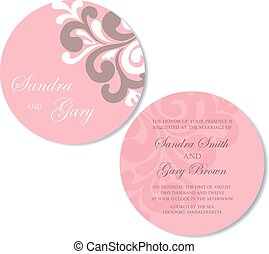 Double-sided wedding invitatation