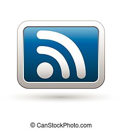 Rss icon on the blue with silver rectangular button. Vector...