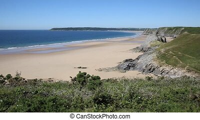 The Gower coast Three Cliffs bay - The Gower Peninsula coast...