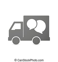 Isolated delivery truck icon with a comic balloon