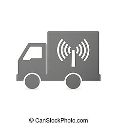 Isolated delivery truck icon with an antenna - Illustration...