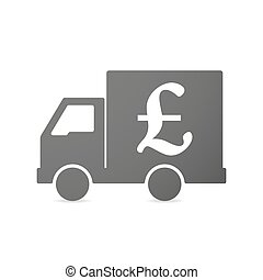 Isolated delivery truck icon with a pound sign