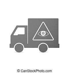 Isolated delivery truck icon with an all seeing eye -...