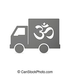 Isolated delivery truck icon with an om sign