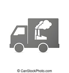 Isolated delivery truck icon with a factory