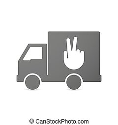 Isolated delivery truck icon with a victory hand