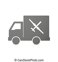 Isolated delivery truck icon with a war drone - Illustration...