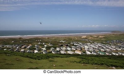 Hillend from Rossili Down PAN - Rossili beach and coast...