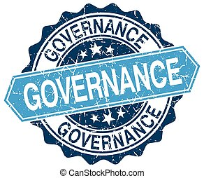 governance blue round grunge stamp on white