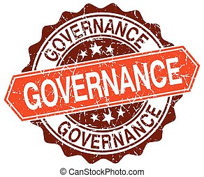 governance orange round grunge stamp on white