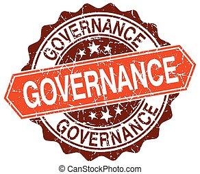 governance orange round grunge stamp on white