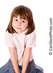 Little girl with brown eyes looking at you isolated on white