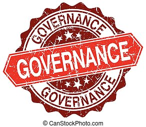 governance red round grunge stamp on white