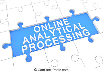 Online Analytical Processing - puzzle 3d render illustration...