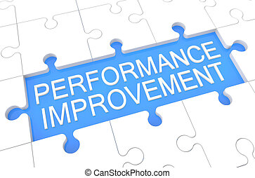 Performance Improvement - puzzle 3d render illustration with...