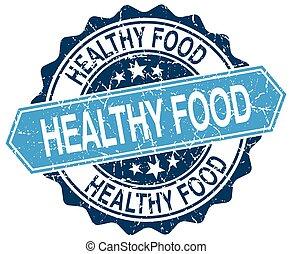 healthy food blue round grunge stamp on white
