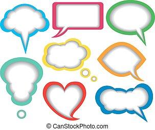 dialogue bubbles - colorful paper dialogue bubbles on white...
