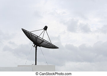 Satellite dish with sky background cloudy day