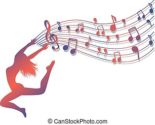 musical ecstasy - Female silhouette jumping. Woman holding a...