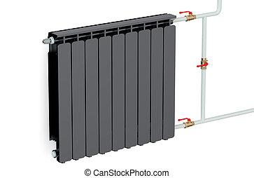 black heating radiator isolated on white background