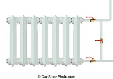 cast iron radiator isolated on white background