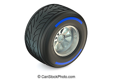 racing wheel with wet tyre