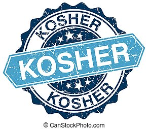 kosher blue round grunge stamp on white