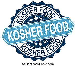 kosher food blue round grunge stamp on white