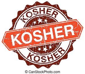 kosher orange round grunge stamp on white