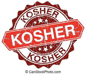 kosher red round grunge stamp on white