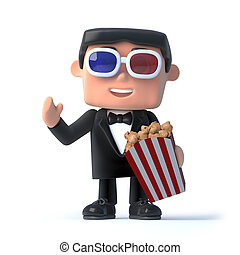 3d Bow tie spy at the 3d movies - 3d render of a man in a...