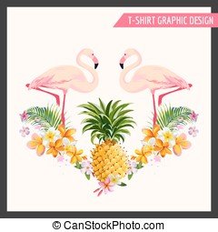 Tropical Flowers and Flamingo Graphic Design - for t-shirt,...