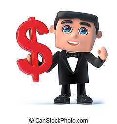 3d Bow tie spy holds a US Dollar symbol - 3d render of a man...
