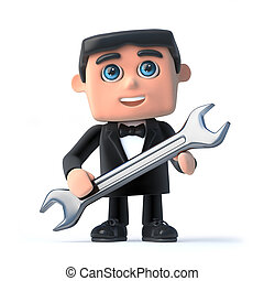 3d Bow tie spy holding a spanner - 3d render of a man...