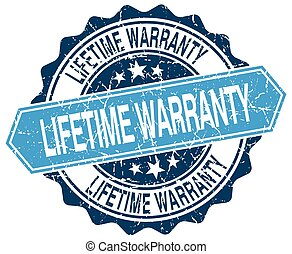 lifetime warranty blue round grunge stamp on white