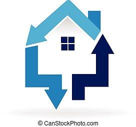 casa, flechas, logotipo