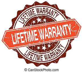 lifetime warranty orange round grunge stamp on white
