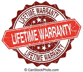 lifetime warranty red round grunge stamp on white
