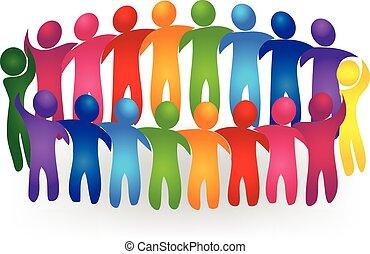 Vector Teamwork meeting people logo - Meeting teamwork...