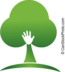 Tree hand logo design - Abstract hand people tree logo image